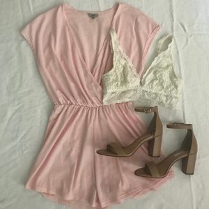 XS Urban Outfitters Ecote Pink Ribbed Romper